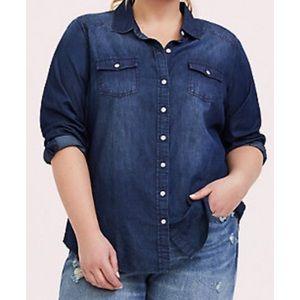 Torrid Taylor Dark Denim Button up shirt A0534